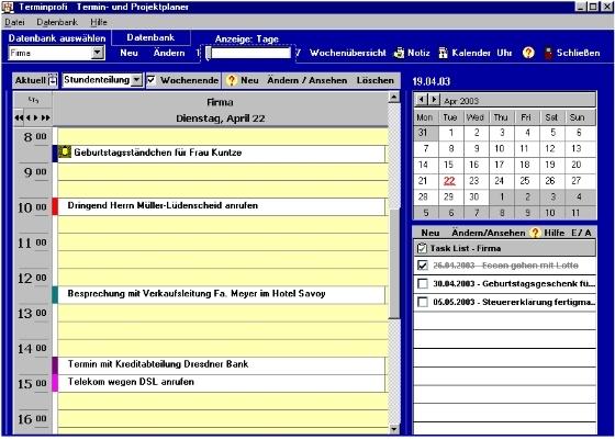Screenshot vom Programm: Terminprofi