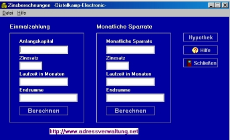 Screenshot vom Programm: Zinsen